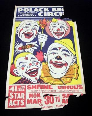 "Polack Bros Shrine Circus Poster, Classic 4 Clown Faces, Leavenworth KS, 50"" x 28"", Poor"