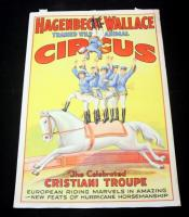 "Hagenbeck-Wallace Circus Poster, Acrobats on Horseback Cristiani Troupe, 41.5"" x 28"", Good Condition"