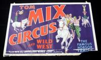 "Tom Mix Circus & Wild West Poster, 28"" x 42"", Good Condition, Tear at Bottom"