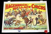 "Hagenbeck-Wallace Circus Poster, Wild West Champions, 21"" x 28"", Good Condition"