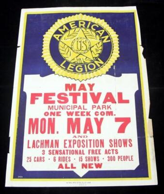 "American Legion US May Festival, May 7, 1923 Written at Bottom, Lachman Exposition, 27.5"" x 41"""