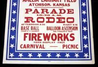 "Atchison's 4th of July Celebration at Amelia Earhart Field Poster, Parade/Rodeo, 28"" x 42"", Good - 3"