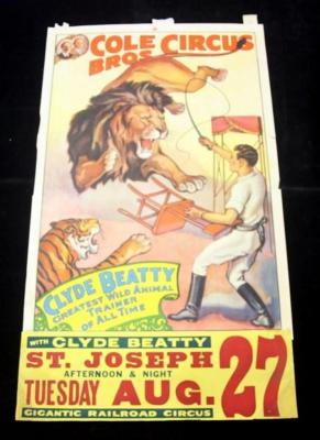 "Cole Bros Circus Poster, Clyde Beatty Greatest Wild Animal Trainer, St. Joseph, 49"" x 28"", Fair"