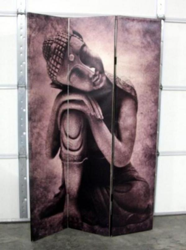 Printed Canvas Buddha ScreenRoom Divider Pictures on Both Sides 48