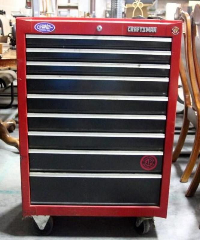 Lot 67 Of 320 Craftsman 9 Drawer Roll Away Tool Box Some Cosmetic Flaws 26 5 W X 39 H