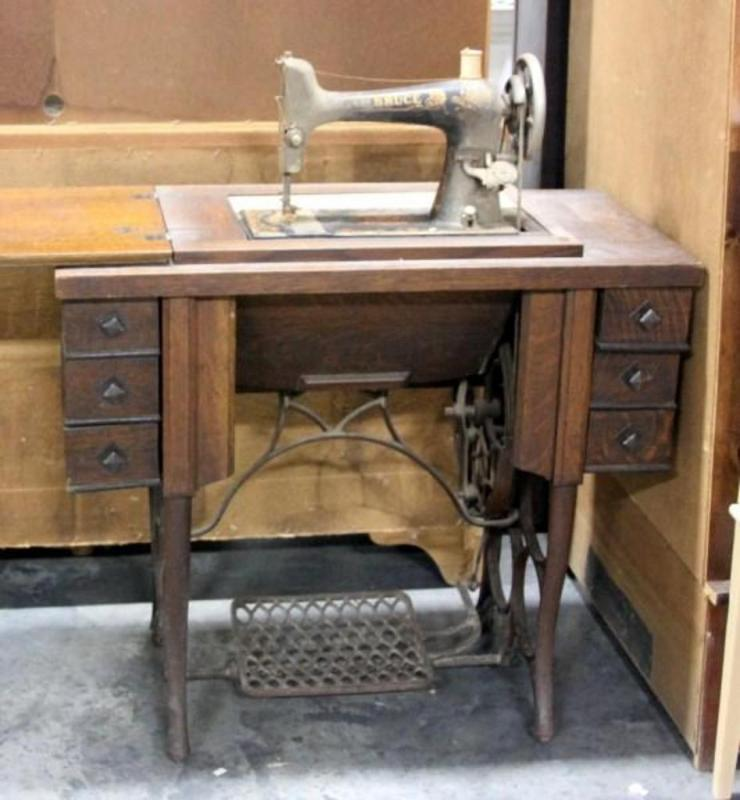 Lot 38 of 594: Antique Sewing Machine Table with Early 1900's