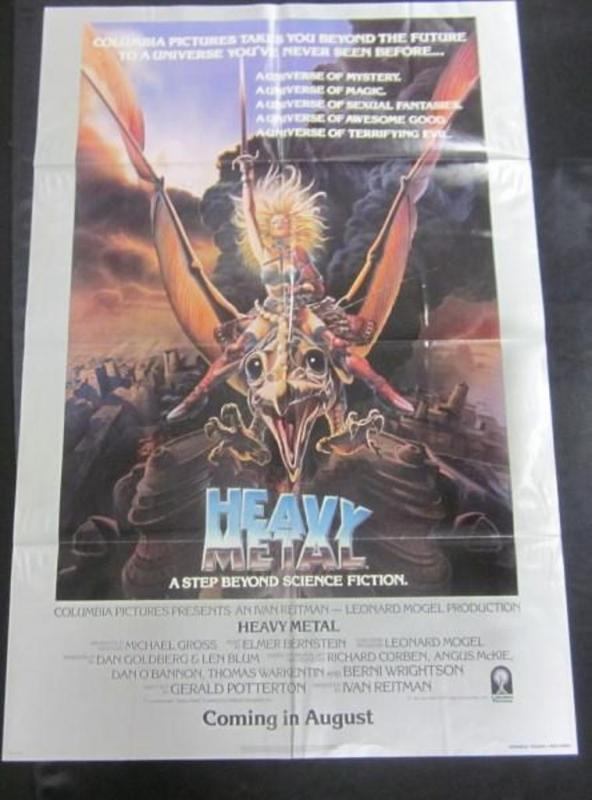 Lot 72original 1981 Heavy Metal Animated Advance Teaser One Sheet Movie Poster Folded
