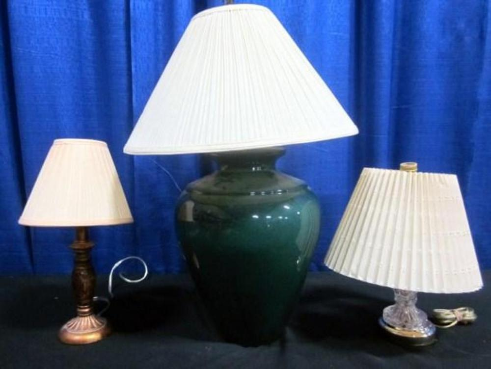 Lot 236 Of 346: Trio Of Wide Base Table Lamps, Forest Green, Maroon,  Pumpkin   Qty 3