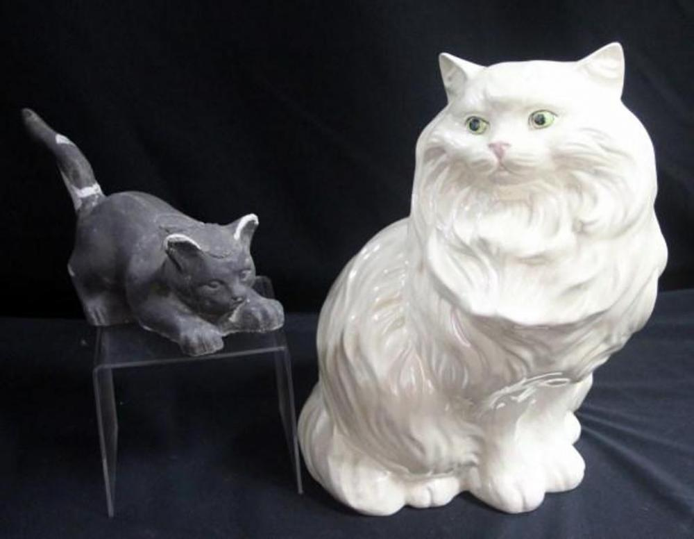 ceramic persian cat statue 14 h and heavy stone cat door stop 10 5