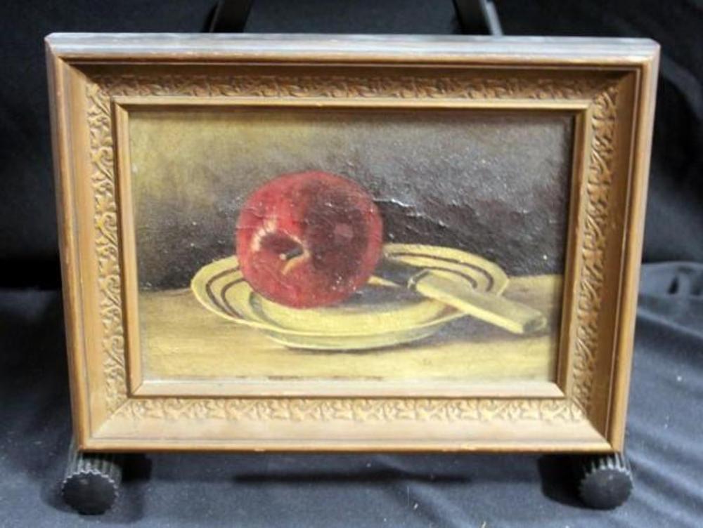 Antique Oil on Canvas Still Life, Frame Brackets Read \
