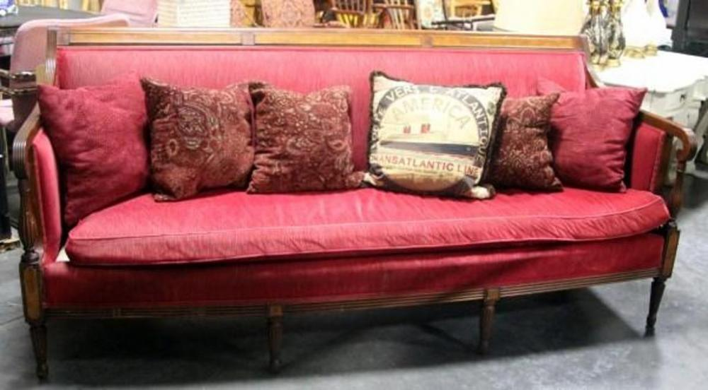 Vintage Globe Furniture Wood Framed Sofa with 6 Throw Pillows, 6\'5\