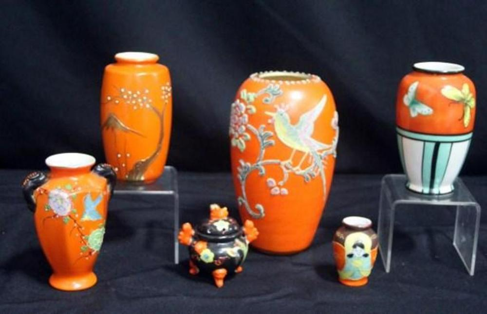 Hand Painted Japanese Vases Qty 6