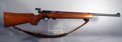 "Mossberg Model 144 Bolt Action Rifle, .22 LR, No SN#, One Piece Walnut Stock, Leather Sling, 26"" Barrel, See Info"