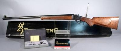 Browning Model 1885 Lever Action Single Shot Rifle, .45-70 Govt, High Wall Black Cartridge Rifle w Unused Browning Vernier Tang Sight Set, Gun Unfired