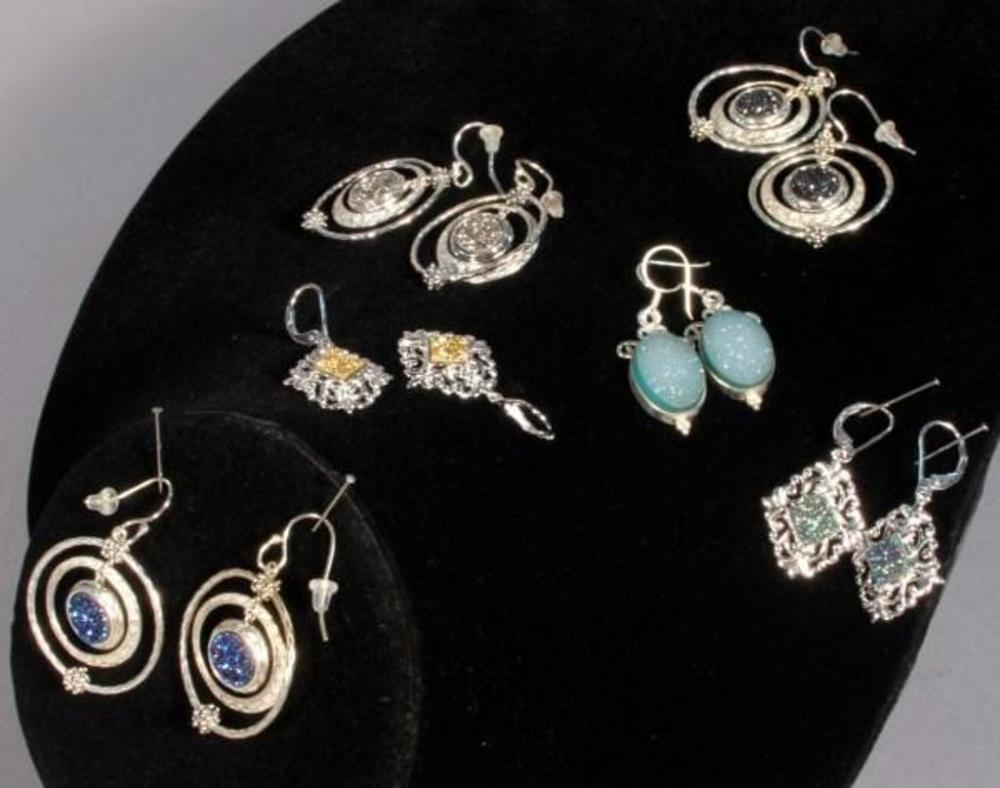 Lot 176 Of 476 Michael Dawkins Sterling Silver And Drusy Earrings Qty 3 Pair Lace Style Drop 1