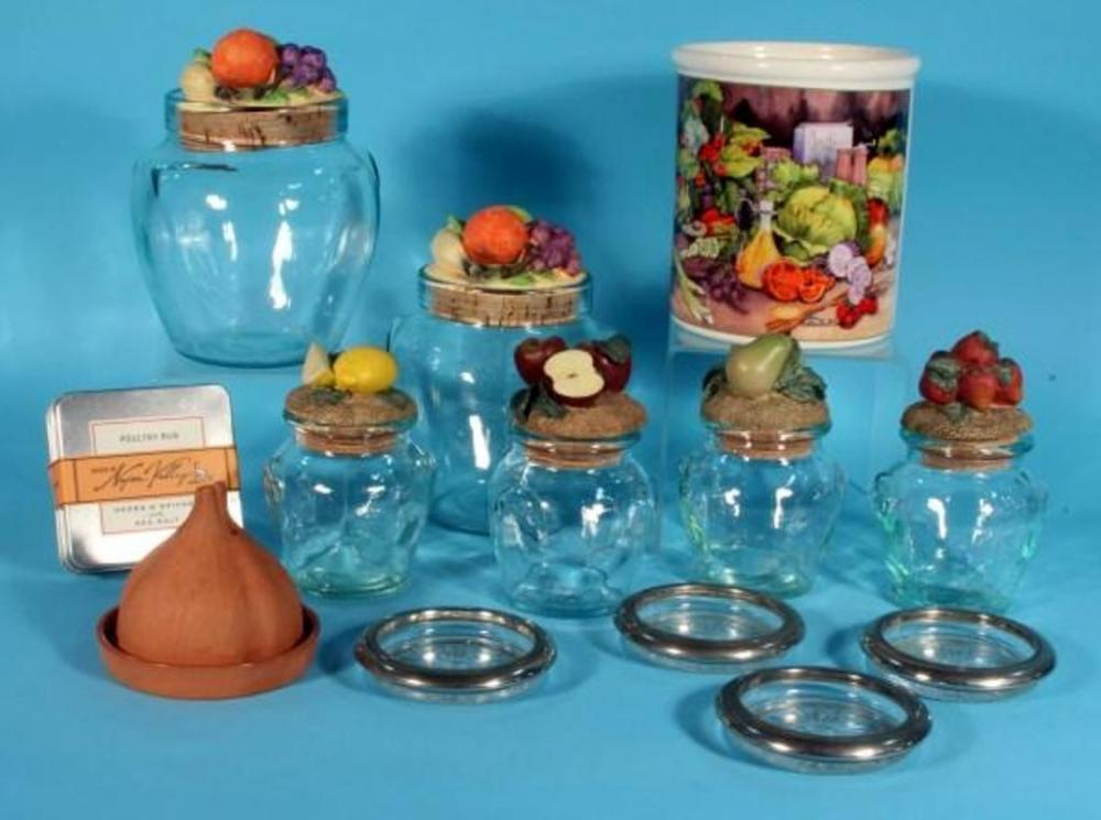 Lot 195 Of 476 Kitchen Decor Glass Canisters With Ceramic Fruit Lids Qty 6 Mckenna Design Vegetable Print Canister Terracotta Garlic Baker And More