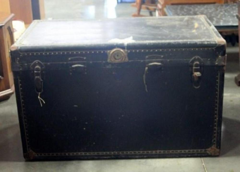 Lot 24 of 418 Vintage Steamer Trunk with Top Storage Tray Insert Leather Handles Metal Hardware and Rivets 39 W x 24 H x 21 D & Vintage Steamer Trunk with Top Storage Tray Insert Leather Handles ...