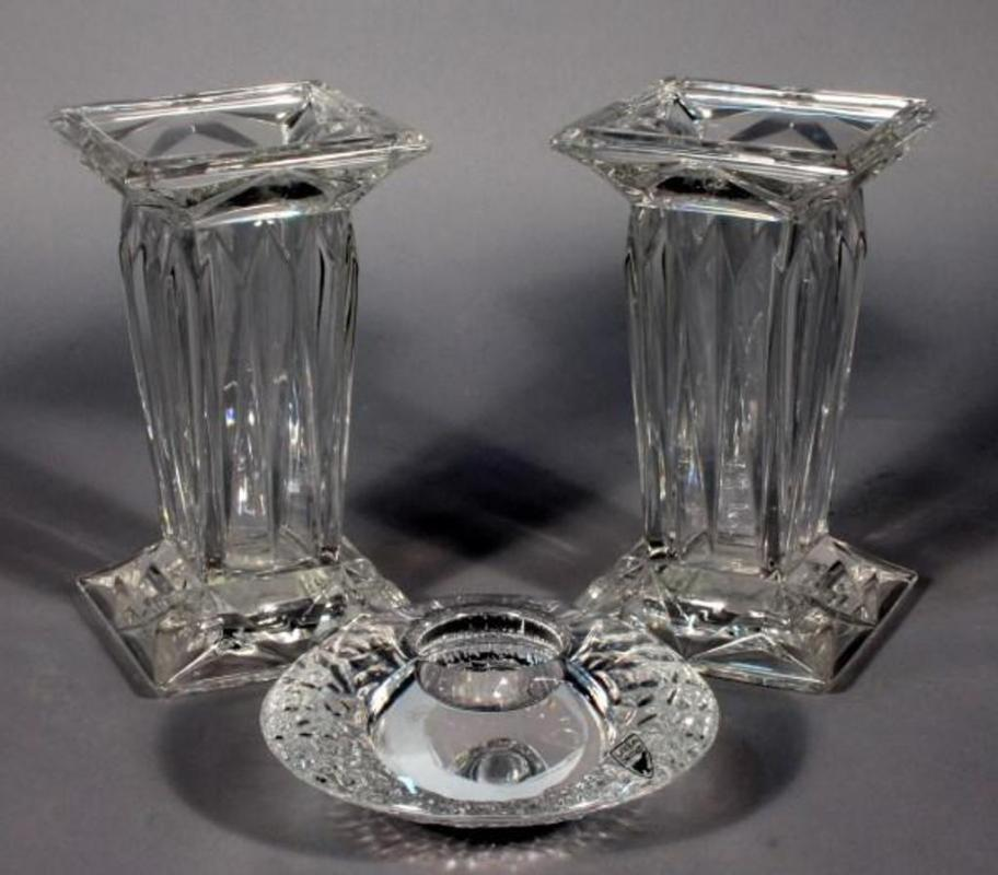 Orrefors Sweden Crystal Discus Votive Candle Holder With Square