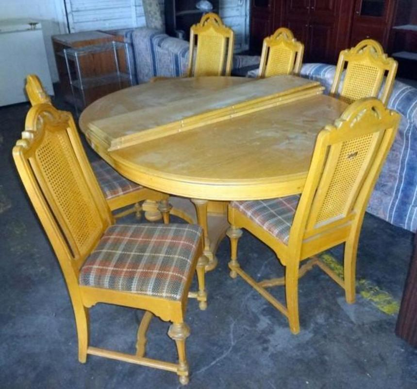 Lot 239 Of 278 Mid Century Solid Wood Dining Set 3 Leaves 5 Room Chairs And 1 Captains Chair Rooms Have Wicker Woven Back Minor Damage To