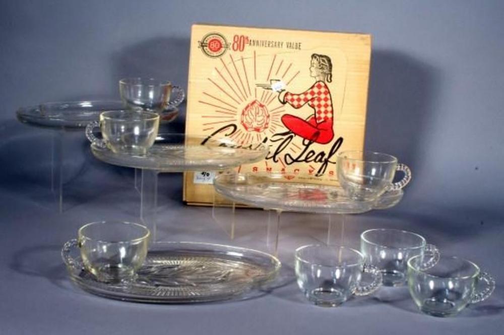 Vintage Federal Glass Co Crystal Leaf Snack Set for 4, Original Box ...