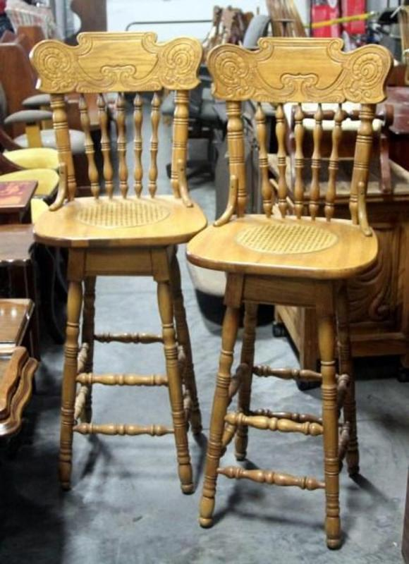 Incredible Pressed Back Swivel Seat Bar Stools With Cane Seats And Machost Co Dining Chair Design Ideas Machostcouk