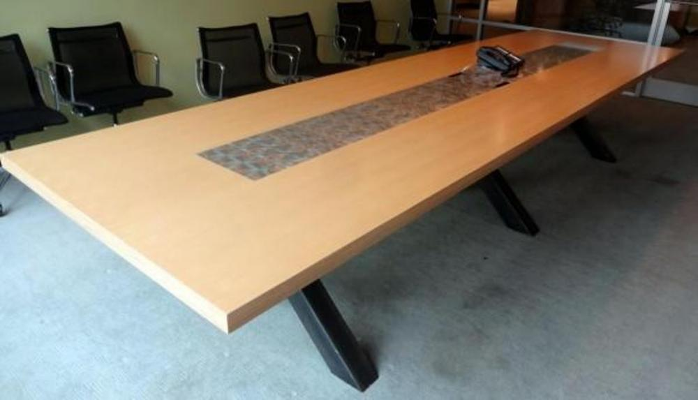 Lot 1 Of 135 Custom Built Style Conference Table With Brushed Sheet Metal Inlay Recessed Electrical And Phone Center Pair Outlets