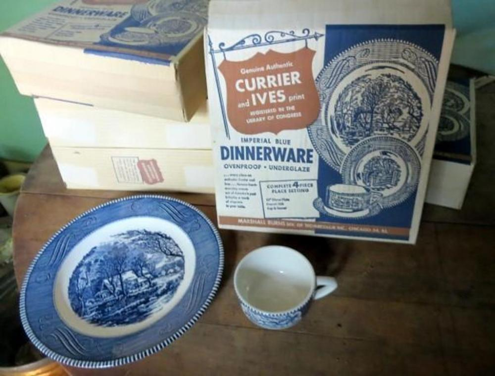 Lot 197 of 233 Marshall \u0026 Burns Genuine Authentic Currier \u0026 Ives Print Imperial Blue Dinnerware Sets Setting for 4 Qty 5 Sets in Original Boxes & Marshall \u0026 Burns Genuine Authentic Currier \u0026 Ives Print Imperial ...