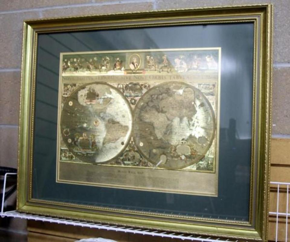 Vintage matted and framed gold foil blaeu wall map of the old and lot 232 of 317 vintage matted and framed gold foil blaeu wall map of the old and new world 32w x 25h gumiabroncs Choice Image