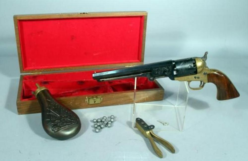 Lot 55 of 275 1951 Old Model Navy Black Powder Revolver Made in Italy .36 Cal SN# C9944 With Powder Horn Bullet Mold Bullets Storage Box w Key & 1951 Old Model Navy Black Powder Revolver Made in Italy .36 Cal ...