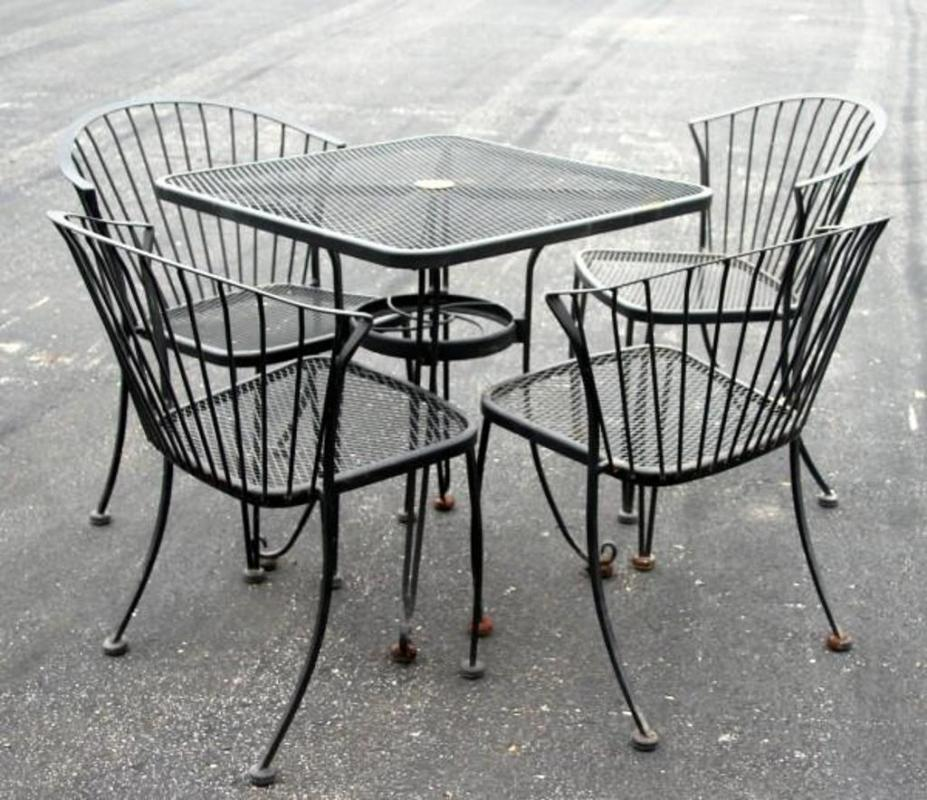 Lot 188 of 285: Carolina Forge Outdoor Patio Set with 28