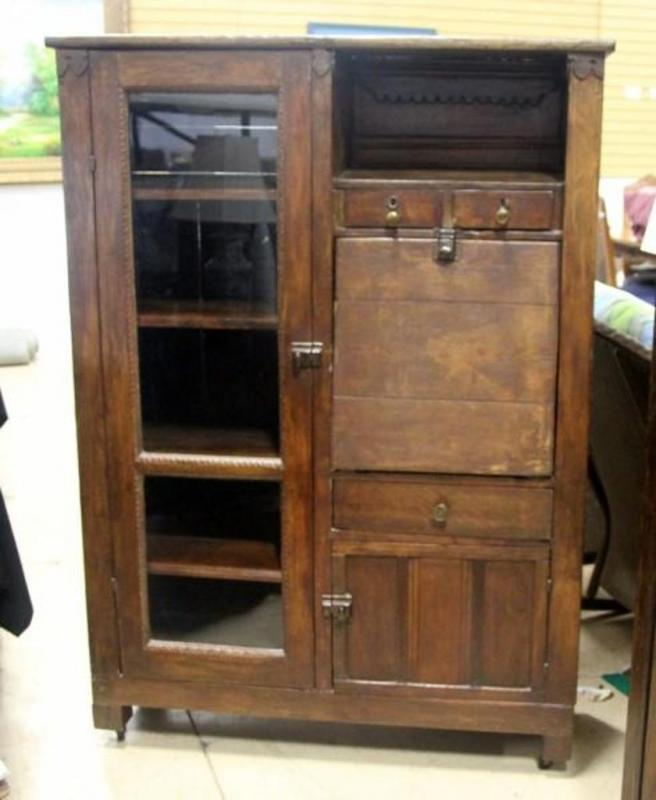 Lot 151 Of 417 Antique Country Desk With Glass Front Door Covering Bookcase And Fold Down Work Surface 42 5 W X 60 H 13 D