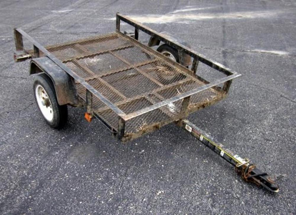 Lot 7E of 321: Homemade Metal Mesh Bottom Trailer, 4' x 6', VIN#DRXMVB000323359MO, With Title
