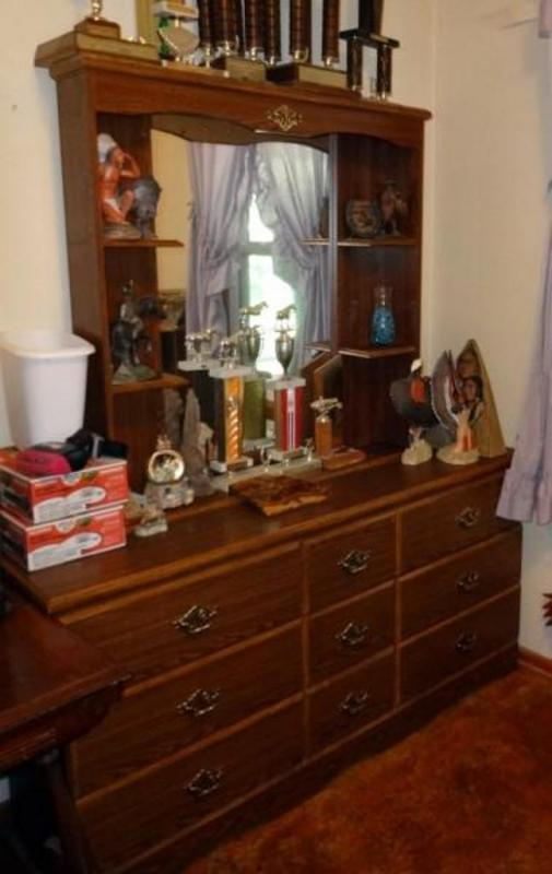 Lot 57 Of 423 Vintage 9 Drawer Dresser With Mirror And Shelves Contents Not Included 70 T X 60 W 15 D