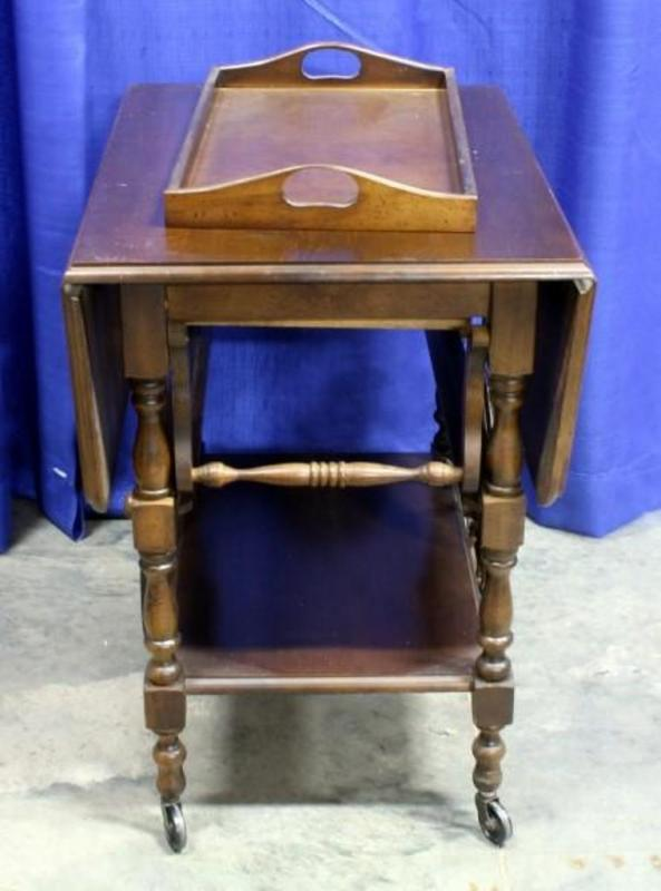 Lot 49 Of 494 Rolling Double Drop Leaf Tea Cart With Tray 8 Spoke Wagon Wheels 20 W X 28 H D 10 Table Leaves