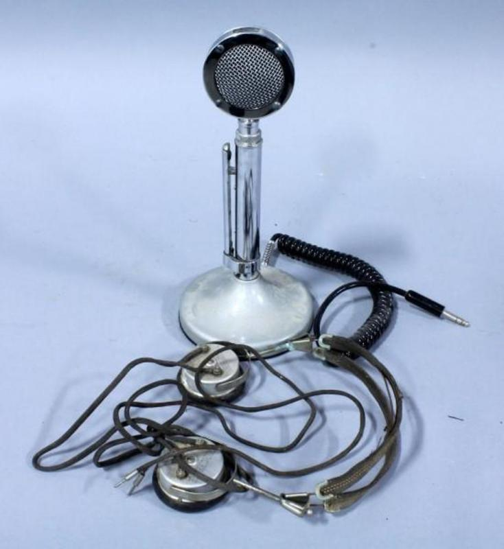 lot 205 of 494: astatic d 104 silver eagle lollipop microphone with t-ug8  stand and vintage durophone headset
