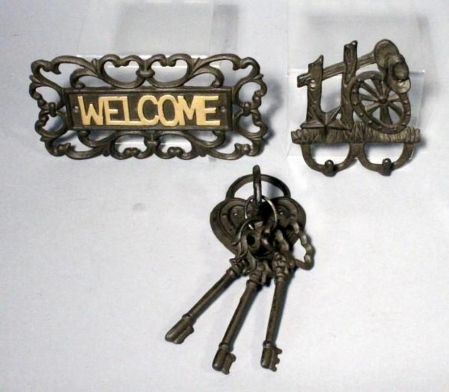 Cast Iron 10 Welcome Sign Lock And Key Wall Decor And Western Wall