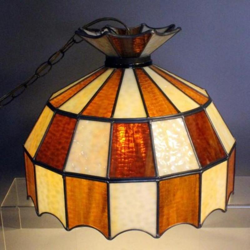 Vintage Stained Glass Hanging Lamp 16 Dia X 12 H