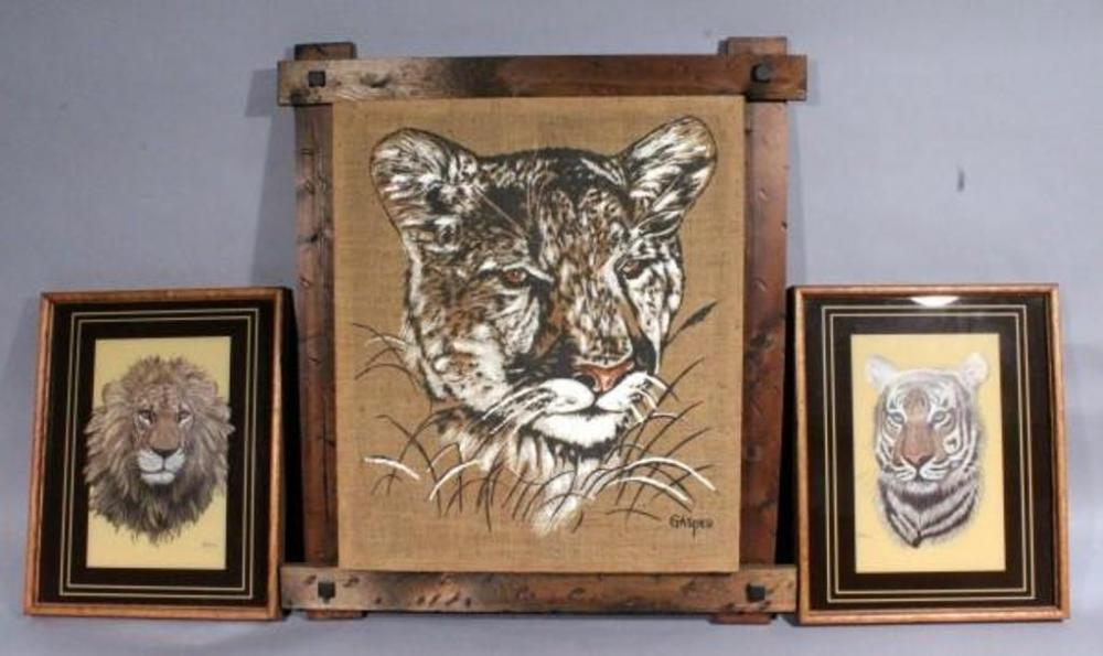 Vintage Tiger Painting on Burlap Signed \