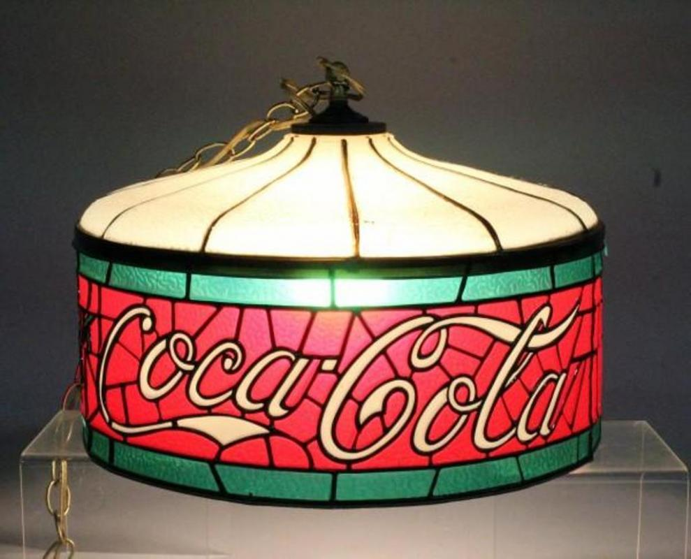 Coca Cola Stained Glass Lamp.Plastic Stained Glass Lamp