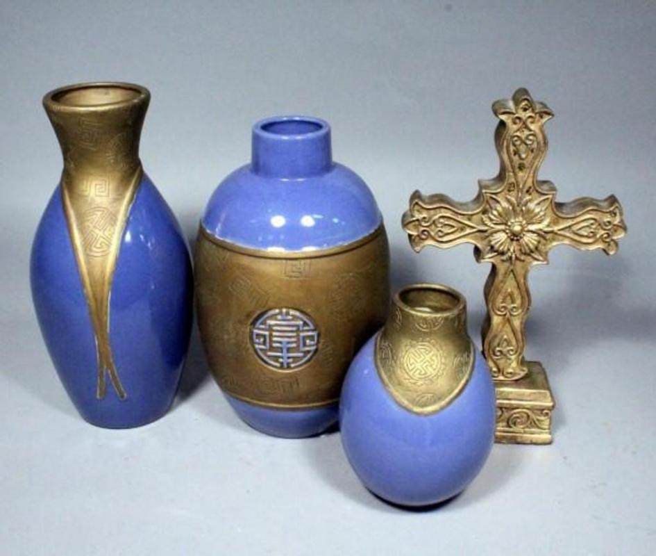 Pier 1 Imports 3 Piece Vase Set 75 13t And 135t Cross Statue