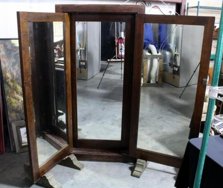 antique tri fold department store dressing room full length mirror 73 t. Black Bedroom Furniture Sets. Home Design Ideas