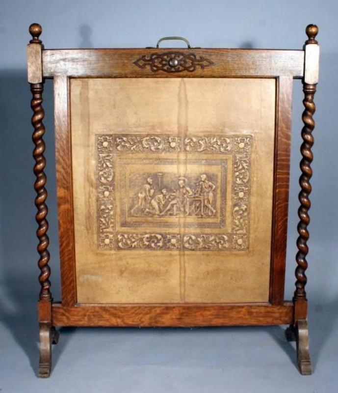 Lot 142 Of 425 Antique Oak Barley Twist Fireplace Screen 29 X 35
