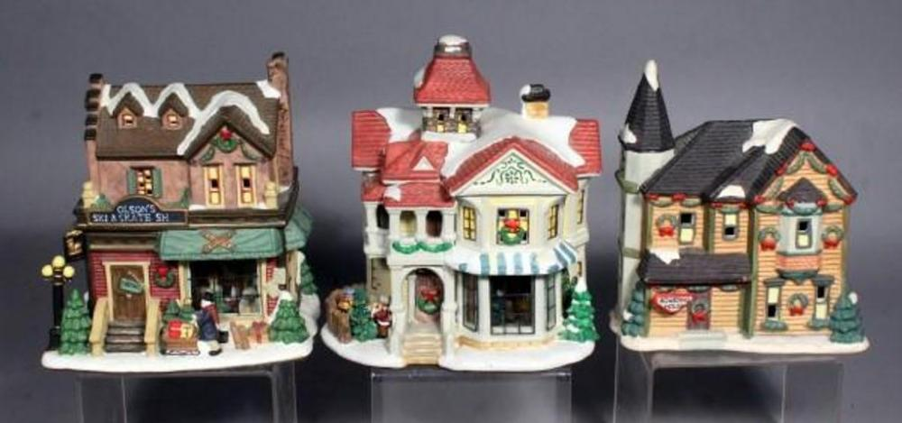 lot 316 of 425 ceramic christmas village lighted houses qty 3 6 9t does not include light source - Ceramic Christmas Houses