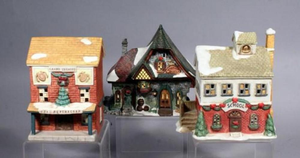 lot 317 of 425 ceramic christmas village lighted houses qty 3 7 75t does not include light source