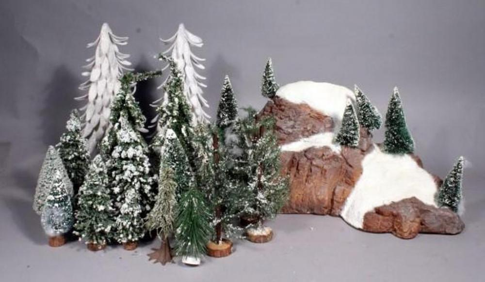 christmas village trees and mountain backdrop trees measure 4 5 14