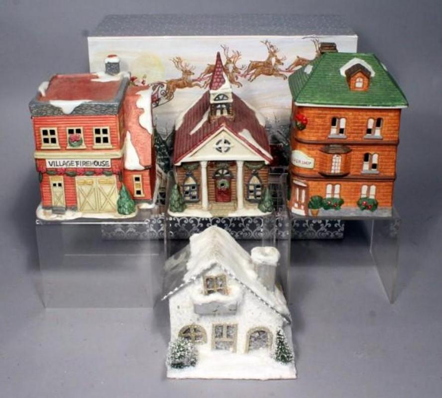 lot 335 of 425 ceramic christmas village lighted houses qty 3 does not include light source and cardboard christmas house
