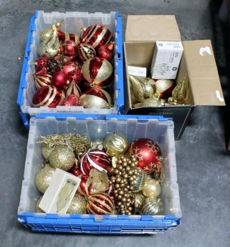 lot 340 of 425 large assortment of christmas ornaments mostly large plastic ornaments christmas lights beads more - Large Plastic Christmas Decorations