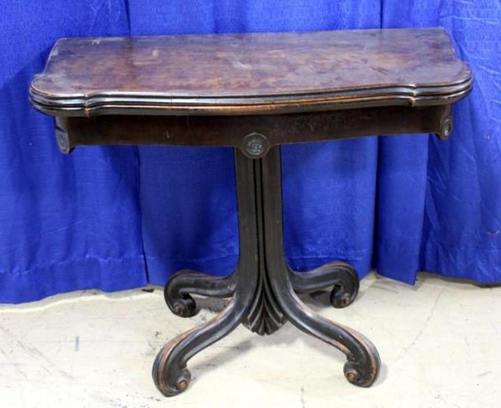 Lot 84 Of 369 Antique Carved Convertible Card Table Twists And Unfolds Cosmetic Damage To Top 30 H X 36 W 38