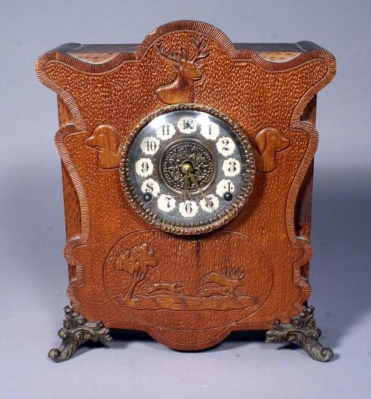 Cosey Corner Carved Wood Clock with Hunting Motiff, Convex Glass ...