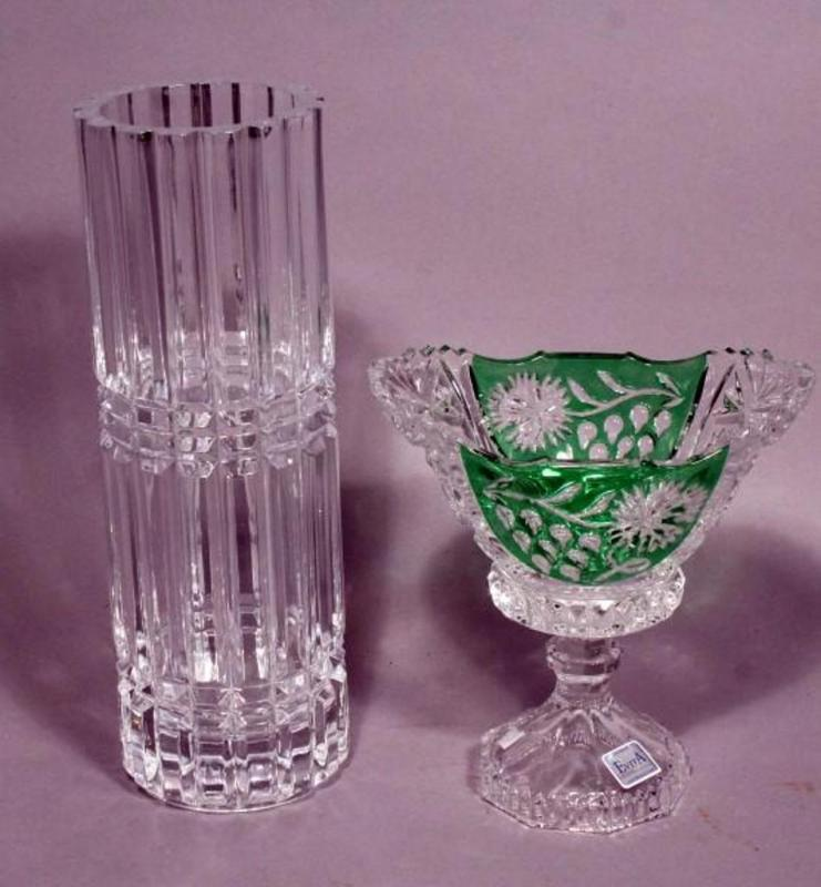 Cut Crystal Vase 12t And Evita 24 Lead Crystal Pedestal Dish 7t